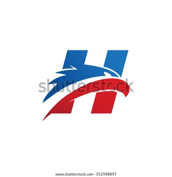 letter H eagle head red blue logo