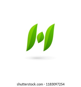 Letter H eco leaves logo icon design template elements