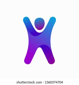 Letter H Happy people logo