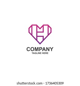 letter h with heart logo design minimalist