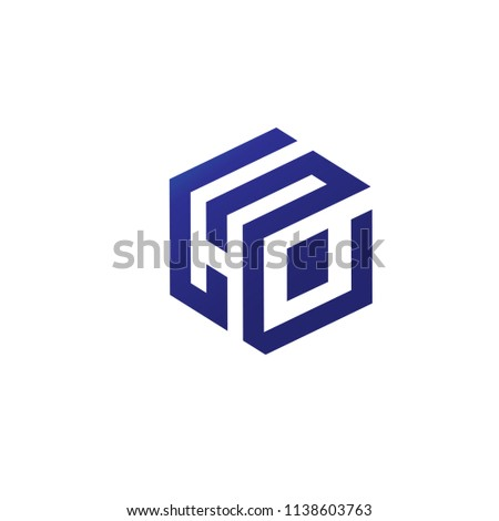 letter h logo 3 d square design stock vector royalty free