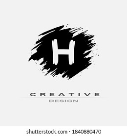 Letter H Logo With Brush Stroke and Splatter Elements. Handwritten Brush Stroke letter H logo design. Creative template suitable for company, logotype, emblem, monogram, jewelry, cosmetic, brand name.