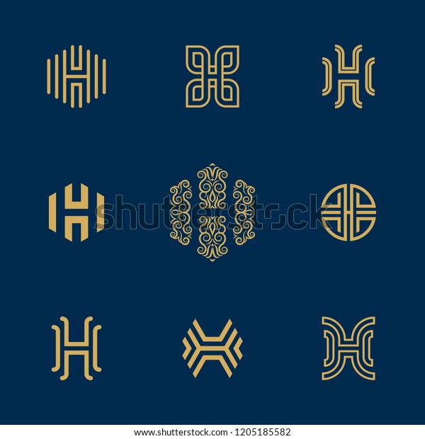 Letter H Logo Collection Vector Deluxe Stock Vector