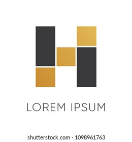 Letter H logo design with luxury concept
