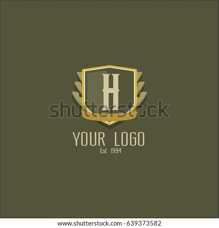f3bdc1a3915 Letter H logo design. Luxury shield crown brand concept. Classic emblem  sign. - Vector