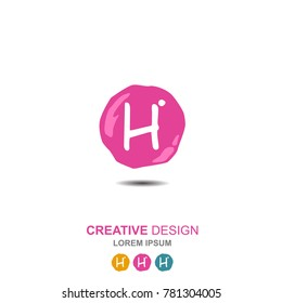 letter h, h logo, h logo design. simple word type logo. suitable for businesses in the field of children and young women. round background that resembles gel for creative design. abstract. vector
