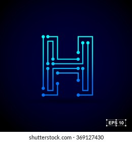 Letter H logo design template,Technology abstract dot connection cross vector logo icon circle logotype
