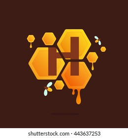 Letter H logo in Honeycomb with flowing honey. Colorful vector design for banner, presentation, web page, app icon, card, labels or posters.