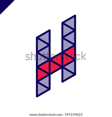1813b304a73 Letter H Logo icon with origami triangle symbol. Colorful Abstract Design  template element logotype