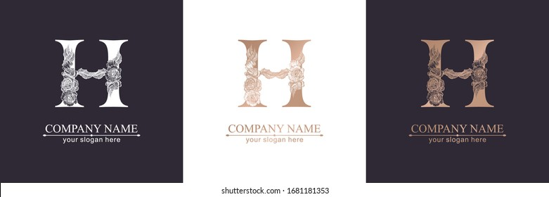 Letter H logo or monogram. For your business. Vector sign. Floral style, beautiful roses. Personal logo.