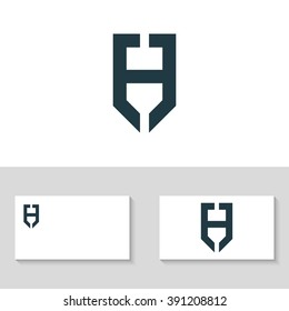 letter h logo template the letter h in the form of shield business logo