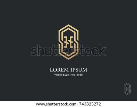 58231c3c017 letter h logo vector design. geometric luxury gold symbol icon design  template.