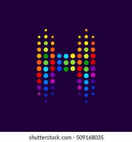 Letter H logo.Dots logo colorful,dotted shape logotype vector design