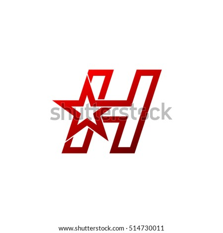 Letter H logo,Red star sign Branding Identity Corporate unusual logo design template