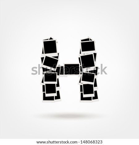 Letter H Made Photo Frames Insert Stock Vector (Royalty Free ...