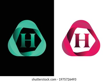 letter H monogram logo with abstract liquid shape