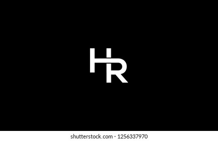 LETTER H AND R LOGO WITH NEGATIVE SPACE EFFECT FOR LOGO DESIGN OR ILLUSTRATION USE