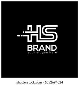 Letter H and S on Black Background.  Logo Design Template. Flat design. Letter HS