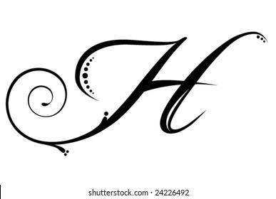 Decorative letter h images stock photos vectors shutterstock letter h script altavistaventures Choice Image