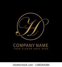 Letter H script initial luxury Logo design Vector