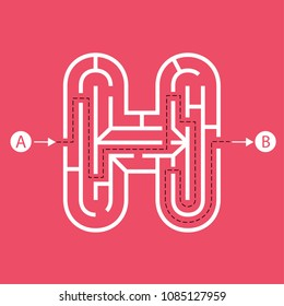 Letter H shape Maze Labyrinth, maze with one way to entrance and one way to exit. Flat design, vector illustration.