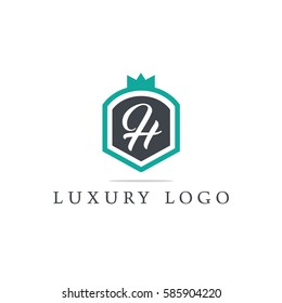 Letter H shield logo design template. Premium nominal monogram business sign. Universal foundation vector icon