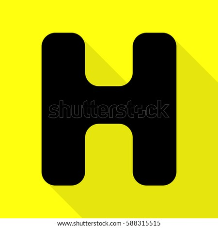 letter h sign design template element black icon with flat style shadow path on yellow