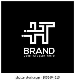Letter H and T on Black Background.  Logo Design Template. Flat design. Letter HT