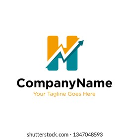 letter H trade marketing logo design vector. initial H and chart diagram graphic concept. company, corporate, business, finance symbol icon.