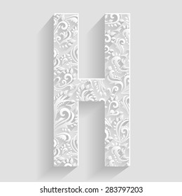 Letter H. Vector Floral Invitation cards Decorative Font
