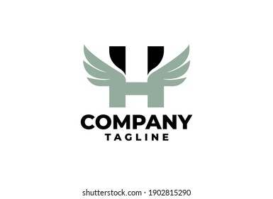 letter H with a wing logo illustration. good for sport company or any company.