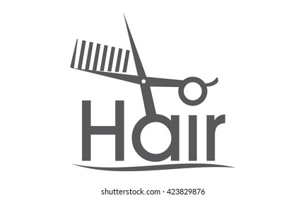 Letter Hair With Scissor and Comb