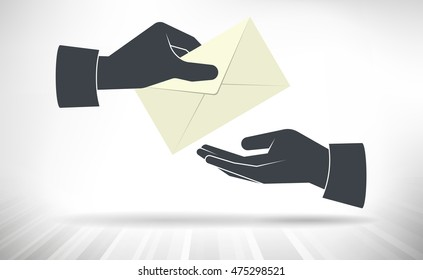 Letter Handover. One hand giving envelope to another hand