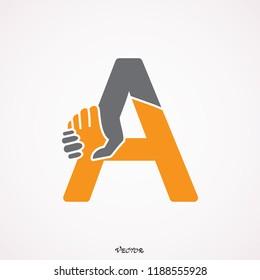 Letter A Handshake Logo Template Design. Creative Vector Emblem, for Icon or Design Concept. Alliance symbol icon or logo template.