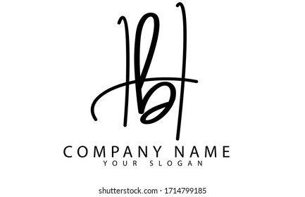 Letter Hb combined Logo. Initial Letter Design Vector simple and clean design