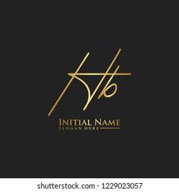 Letter Hb Logo. Initial Letter Design Vector Luxury Colors