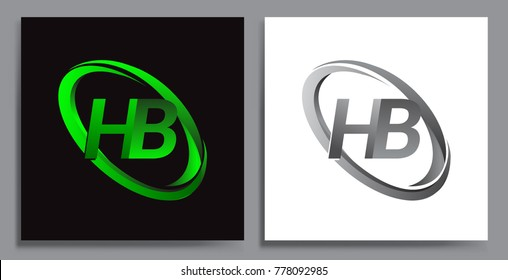 letter HB logotype design for company name colored Green swoosh and grey. vector set logo design for business and company identity.