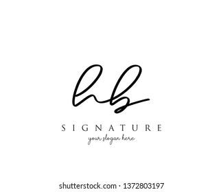 Letter HB Signature Logo Template - Vector