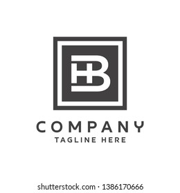 Letter HB Square Logo Design