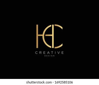 Letter HC Logo Design, Creative Minimal HC Monogram In Gold Color
