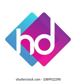 Letter HD logo with colorful geometric shape, letter combination logo design for creative industry, web, business and company.