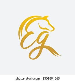 Letter EG and Horse