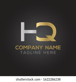 letter HQ Logo Design Vector Template. Initial Gold And Silver Letter Design HQ Vector Illustration
