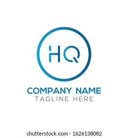 letter HQ Logo Design Vector Template. Initial Linked Letter HQ Vector Illustration