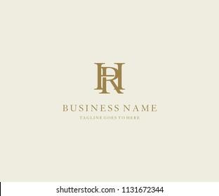 letter HR linked minimalist elegant logo design