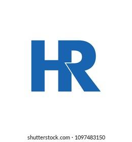 letter hr linked monogram design logo