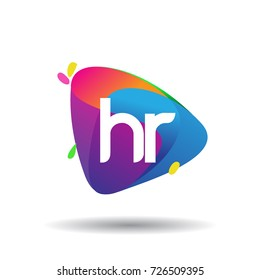 Letter HR logo with colorful splash background, letter combination logo design for creative industry, web, business and company.