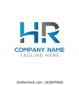 letter HR Logo Design Vector Template With Blue And Black. Initial HR Vector Illustration