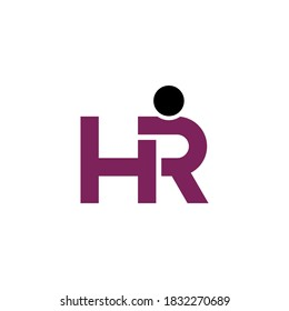 letter HR logo, simple and clean