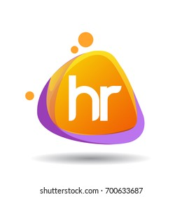 Letter HR logo in triangle splash and colorful background, letter combination logo design for creative industry, web, business and company.